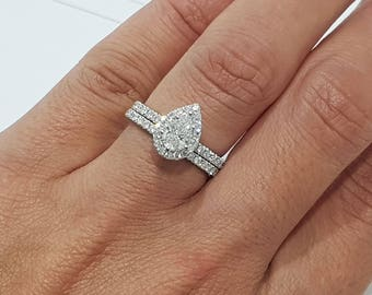 Bon 1 Carat Halo Ring Set, Pear Diamond Ring Set, Pear Shaped Ring, Beautiful