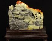 N4388 Superb Chinese Shoushan Stone Statue - Old Man & Kid