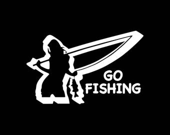 Fishing Decal Go Fishing Car Decal Girls Fish Too Vinyl Decal Girl Fishing Decal Bumper Sticker Window Wall Decal Laptop Tablet Girl Decals