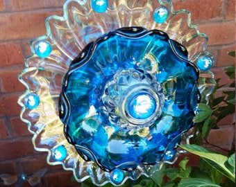 Turquoise Mystery Glass Flower