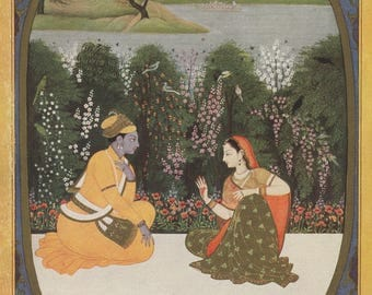 Indian Miniature Painting 1962 printed reproduction - The Month of Chaitra