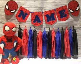 Marvel Spiderman Birthday Party Tassel Garland Bunting Handmade Decorations