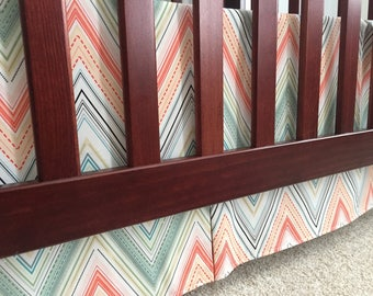 READY TO SHIP Teal Peach Coral Cantelope Orange Modern Chevron 3-Sided Pleated Crib Skirt Girly