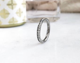 3mm Titanium Ring, Eternity CZ Ring, Custom Promise Ring for Her, Purity Ring, Coordinates Ring, Date Ring, Kids Name Ring, Fiance Ring