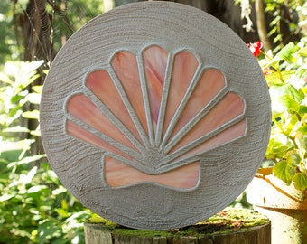 Seashell Stained Glass Stepping Stone Scallop Design #527
