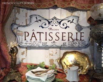 FRENCH SCRIPT PATISSERIE Sign pastry wood sign, confiseries wood sign, pastries confections sign, Carte Postale, French postage stamp, white