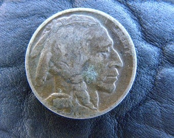 1927 US circulated  authentic vintage Buffalo Indian Nickel coin full date full horn  A139