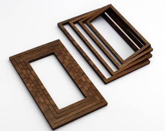 8 Concentric Rectangle Wood Beads : Walnut