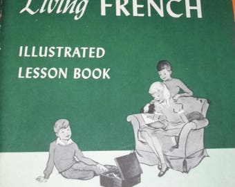 2 Children's Living  Language French Picture Dictionary & Lession Book 1960 Vintage