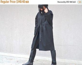 SALE 25% OFF Black wool coat for women,
