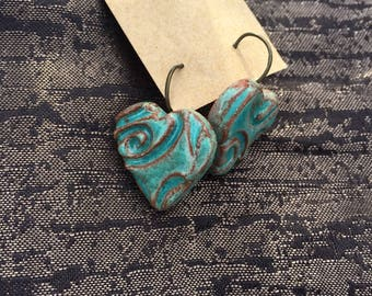Sterling silver and clay drop earrings . Handcrafted