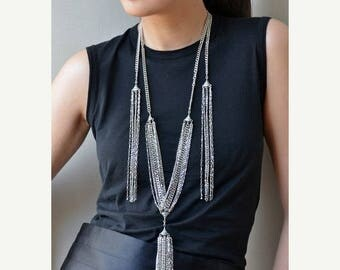 On Sale Triple Tassel Necklace, gorgeous for a night out!