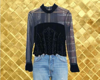 Vintage Velvet Beaded Corset Mesh Long Sleeve Top (Size 10P)