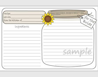 DIY Printable Mason Jar Recipe Cards for the Bride with Sunflower - 4x6 size