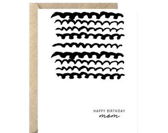 Happy Birthday Mom Card, Modern Birthday Card, Happy Birthday Card, Mom's Birthday Card, Mother's Birthday Card, Card for Her - 029C