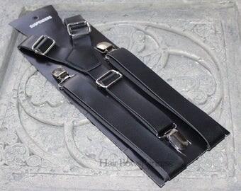 """Vintage Pu Leather Adjustable Suspenders 1"""" width dark Brown,black,tan, Wedding men,adult,Groomsmen,Men's Suspenders,Mens suspenders,"""