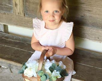 Rustic flower girl basket, bridesmaid basket, woodland wedding, boho wedding, winter wedding, peonies, silk flower, Keepsake,