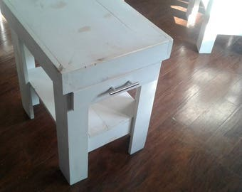 Distressed White Night Stand End Table