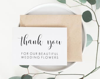 Thank You Card For Florist. Florist Thank You Card. Wedding Card For Florist. Florist Wedding Card. Florist Card. Vendor Thank You Card.