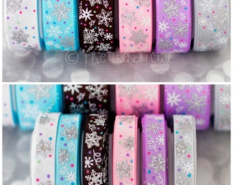 """3/8"""" & 7/8"""" Whimsy Snowflakes w/ Glitter and Silver Laser Foil - Winter - U.S. DESIGNER - High Quality Grosgrain Ribbon - 5yd Roll"""