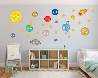 Solar System Wall Decal Planet Space Wall Decal Stickers, REUSABLE FABRIC Decal  Wall Decor Kids Part 97