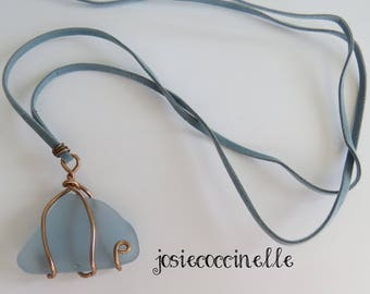 Long necklace in pale blue glass beach boho-chic style