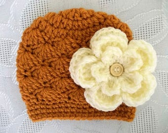 Baby girl hat Crochet newborn hat Newborn girl hat Newborn girl outfit Newborn winter hat Girl winter outfit Girl photo prop Crochet beanie