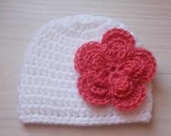 Newborn girl hat, white baby hat, winter baby hat, baby girl hat, baby beanie, crochet girl hat, flower girl hat, hospital hat