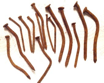 25 Bent Rusty Nails Steampunk Industrial Art Craft Gardening Similar to Photo