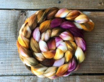 Organic Polwarth wool and Silk handdyed roving, color way OPERATIC, spinning fiber