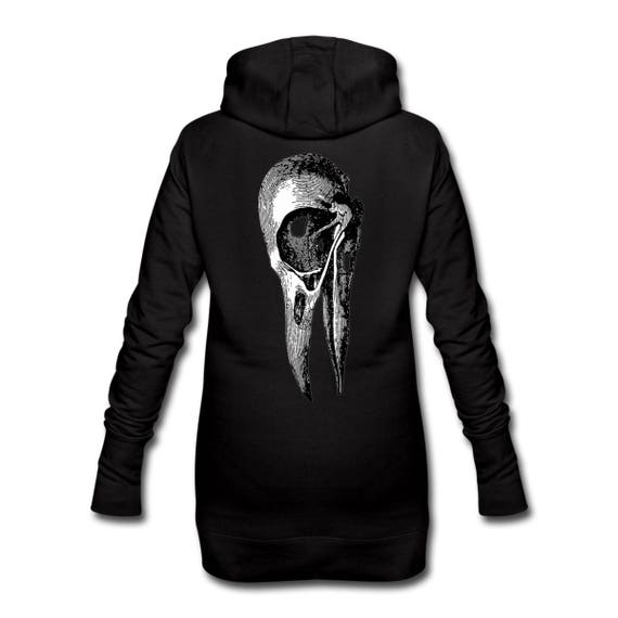 Hooded Dress with Giant Crow Bird Skull Back Print Long Length For Women. Ethically Produced. Sizes S-XL. Black with white print on reverse.
