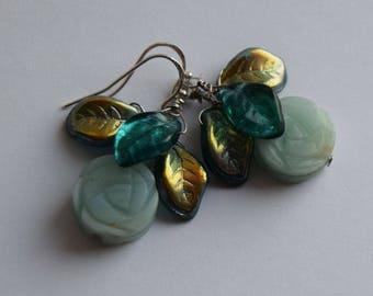 Amazonite earrings, natural Amazonite flower earrings, aqua blue earrings, blue flower earrings, aqua green earrings