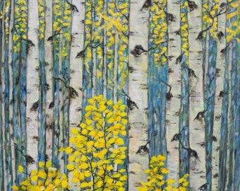 Oil Painting Colorado Aspens  Landscape Original Artwork Home Decor Wall Decor Wall Hanging Art 61x61cm