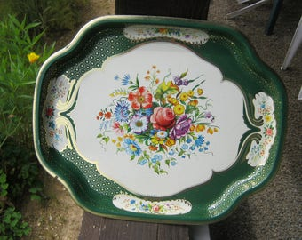 Metal Floral Tray, English Serving Tray, Floral Tray, English Cottage Garden