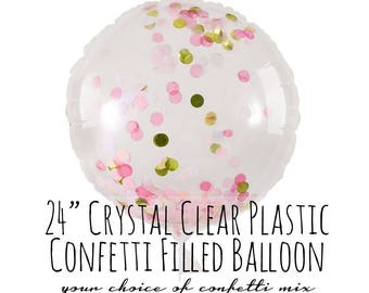 "Crystal Clear Round Plastic Balloon, Blush Pink and Gold Confetti Balloon, 24"" Big Clear Balloon, Party Decoration, Wedding, Photo Prop"