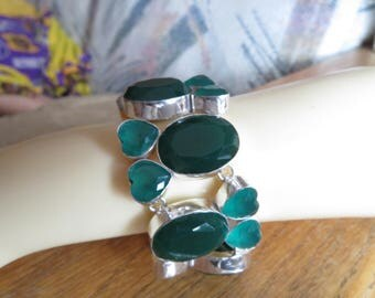 "Faceted 325CTS  Green Tourmaline Gemstone 925 Silver Bracelet Jewelry Silver Ebay Christmas Special, 6"" to 8"" Adjust"