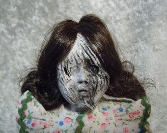Small Creepy Doll with Horrible Face #129  Witch Doll  day of the dollies
