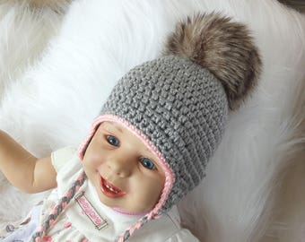 Gray Baby girl hat with fur Pom pom - Baby earflap hat - Crochet baby hat - Newborn girl hat - Faux fur pompom - Baby winter hat - baby gift