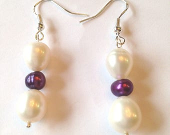 White Fresh Water Potato 10MM Pearl & Royal Purple 6MM Pearl Earrings With 925 Sterling Silver Ear Wires And Pins