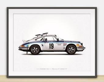 1974 Porsche 911 Carrera RS (Safari Rally) illustration poster, print