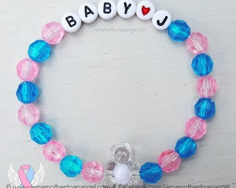 Teddy Bear - Personalized Handmade Bracelet - PINK/BLUE