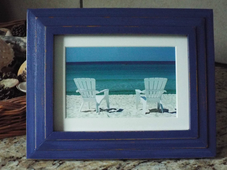 Beach photography Blue Decor Blue frame Beach frame Shabby Chic