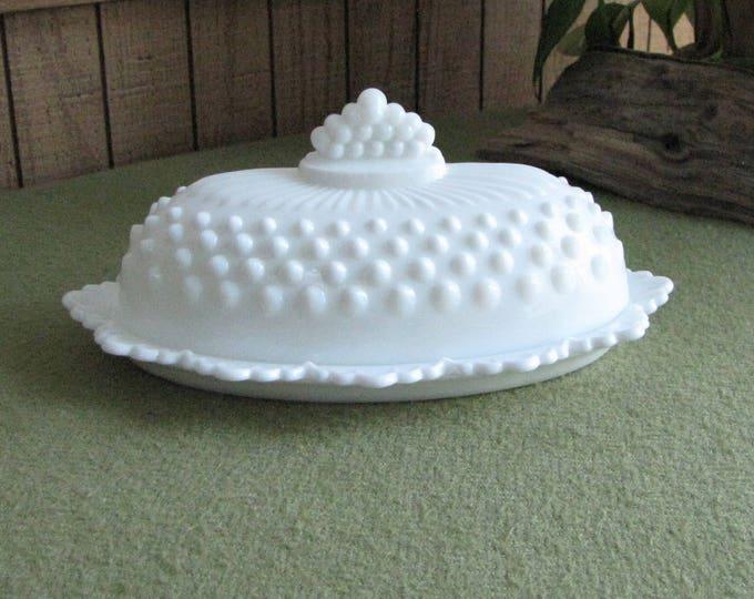 Fenton Milk Glass Hobnail Butter Dish Vintage White Kitchens Serving Ware  (1970s)