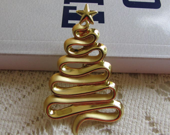 AJC Christmas Tree Brooch Modernist Gold-Toned Vintage Holiday Jewelry