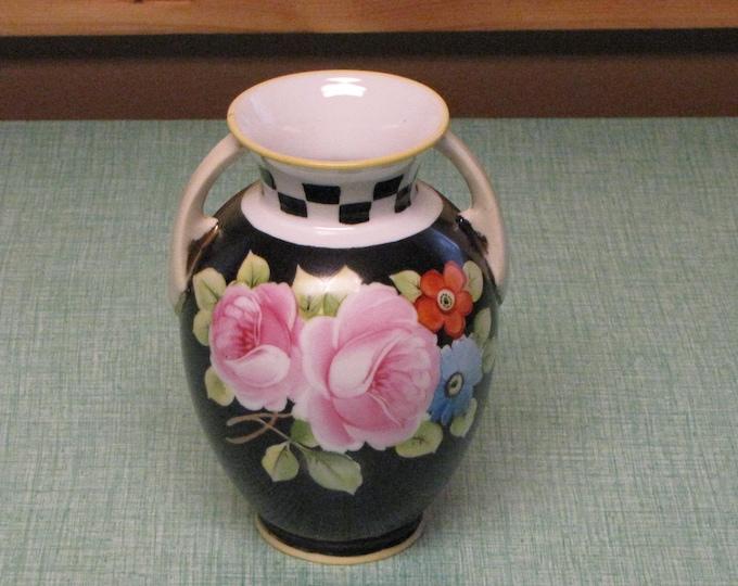 Black Nippon Vase Circa 1920s Vintage Florist Ware and Home Décor Pink Rose Urn