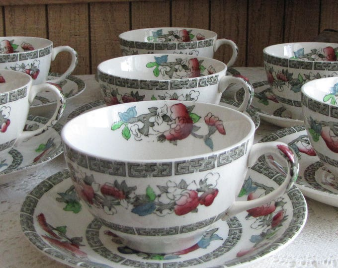 Indian Tree Cups and Saucers Johnson Bros. Vintage Dinnerware and Replacements 1979-1982 Greek Key Set of Seven (7)