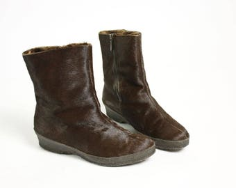 Vintage 80's Brown Real Short Hair Fur Warm Winter Boots - EUR 37/ US 6.5/ UK 4