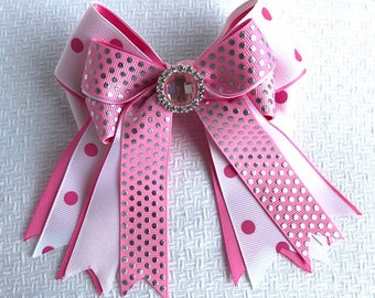 Shorty Hair Bows for Horse Shows/Hair Accessory/Light Pink Sparkle Gem