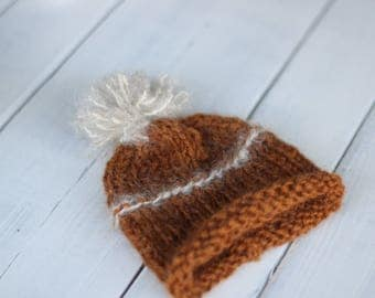 Knitted new born hat, Brown Mohair  Hat,Photography  Prop