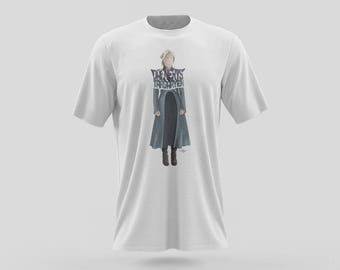 Daenerys Targaryen T-shirt of the Mother of Dragons from the Game of Thrones TV show on HBO. Dany as the Khaleesi as the Queen of Westeros